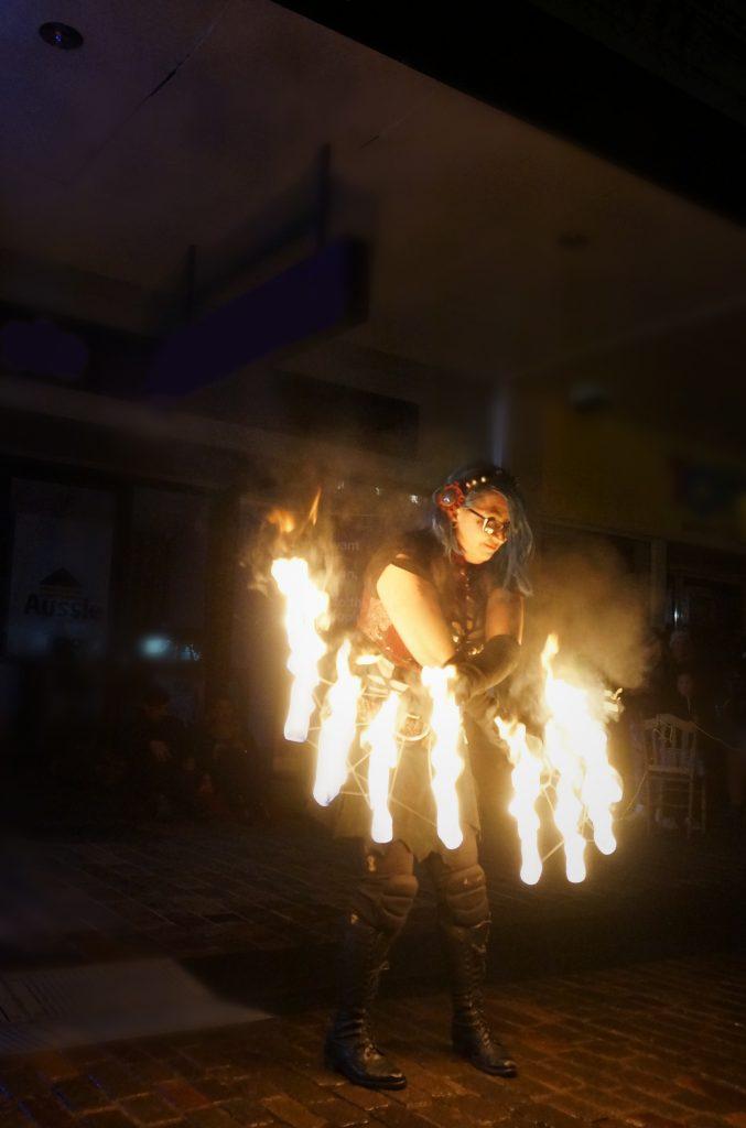 hunter valley fire performers - fire dancer wolf