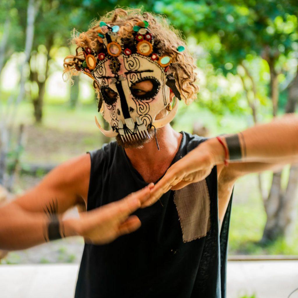 Trying on masks - custome made felt sceleton mask - glowfest